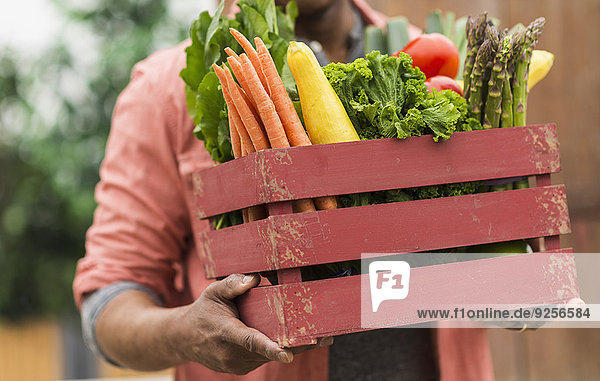 Close up of man carrying crate full of fresh vegetables
