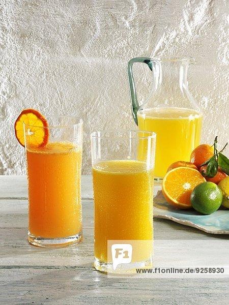 Verschiedene Limonadengläser (Mandarine  Mandarine-Orange  Orange)