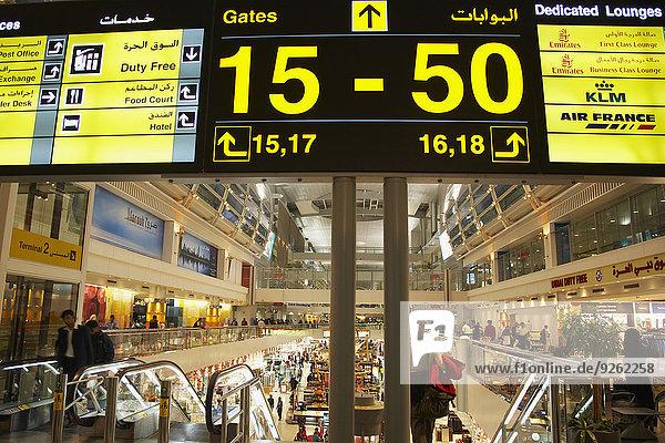 Airport sign in terminal  Dubai  United Arab Emirates
