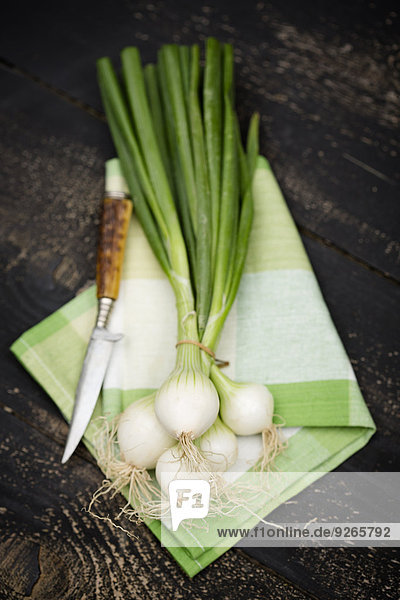 Bund Frühlingszwiebeln und Messer