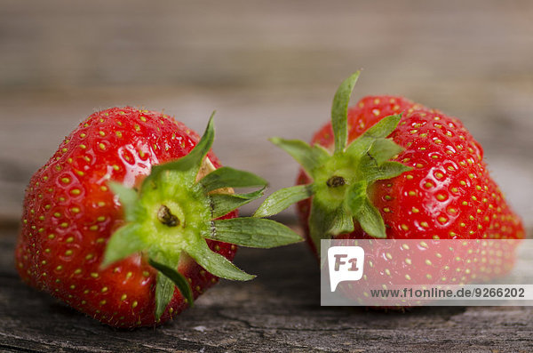 Fresh strawberries  Fragia  on wood