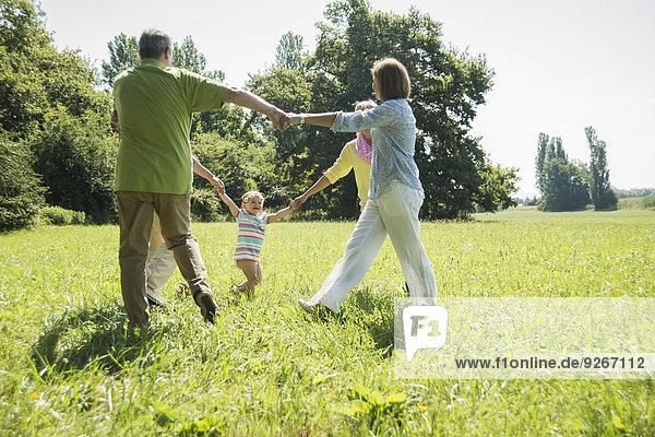 Drei Generationen Familie beim Ring-a-ring-a-roses-Spiel auf einer Wiese