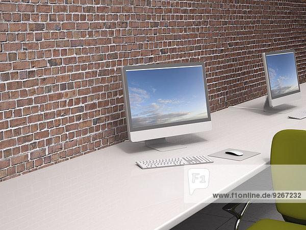 3D Rendering  moderner Arbeitsbereich an der Ziegelwand