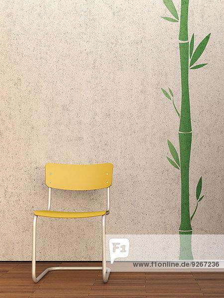 3D Rendering  gelber Stuhl an Betonwand und Merbau-Boden