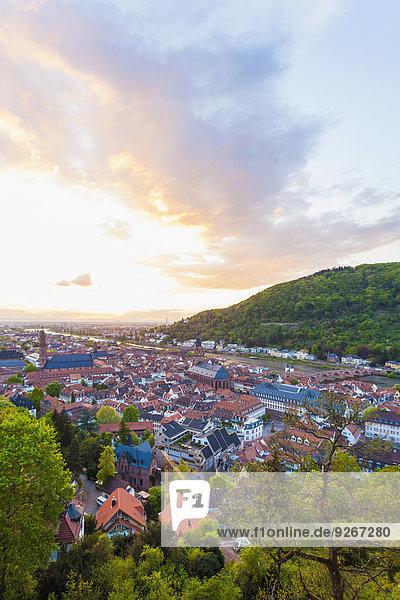 Deutschland  Baden-Württemberg  Heidelberg  Blick auf Altstadt und Alte Brücke gegen die Abendsonne