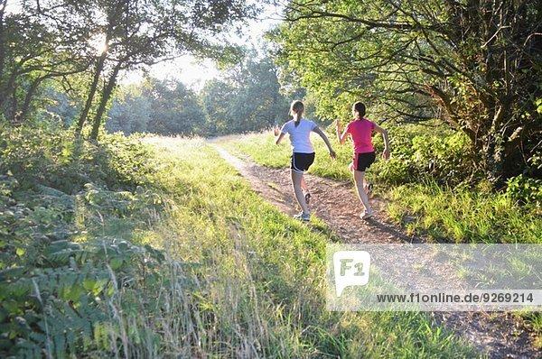 Zwei junge Läuferinnen  die morgens den Waldweg hinauflaufen.