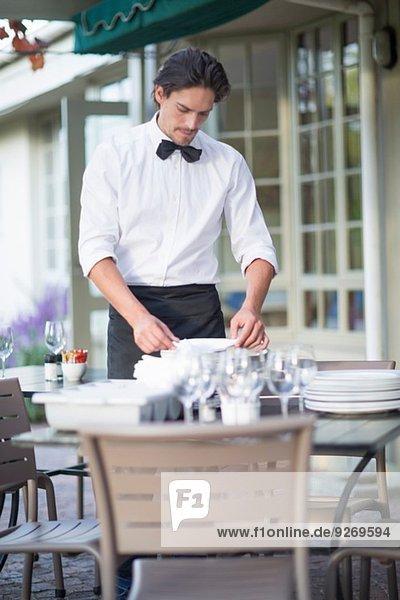 Kellnerservietten im Terrassenrestaurant