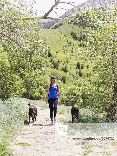 Frau Landschaft Hund wandern 2