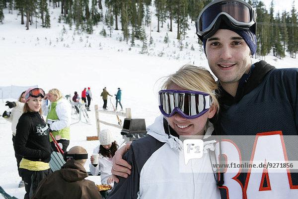 sehen Ski Blick in die Kamera Hang