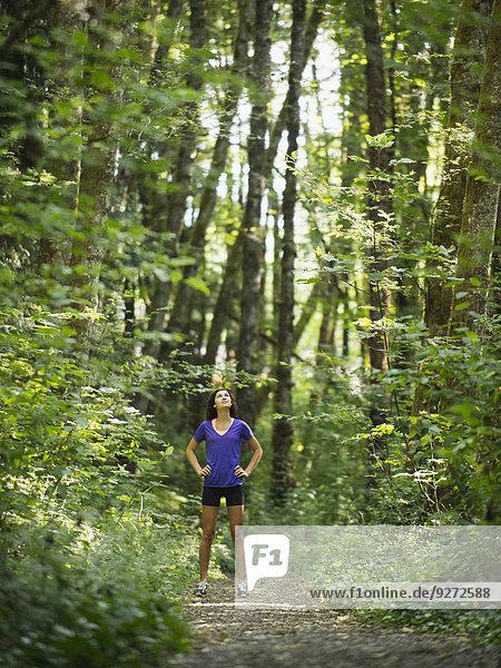 Frau ruhen Wald jung