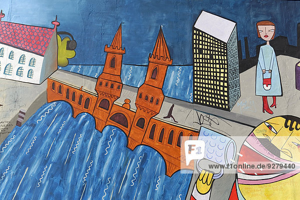 Wandgemälde,  East Side Gallery,  Mauergalerie,  Berlin,  Deutschland