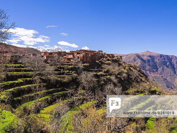 Lehmdorf Anammer  Ourika-Tal  hinten das Atlas-Gebirge  Anammer  Marrakesch-Tensift-El Haouz  Marokko