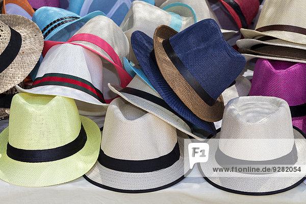 Hats for sale  Portocolom  Majorca  Balearic Islands  Spain