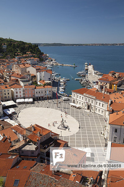 View of the historic centre with the harbour and Tartini Square  Piran  Istria  Slovenia