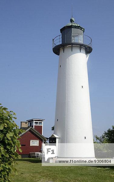 Alter Leuchtturm Smygehuk  1863 gebaut  der südlichste Ort in Schweden  Smygehamn  Skåne län  Schweden