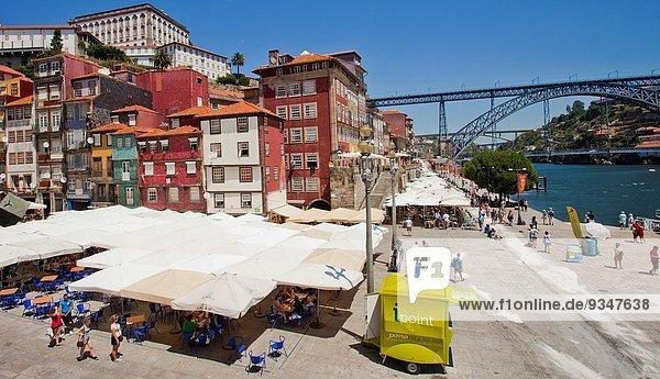 Ribeira Square  Praça da Ribeira  Luís I or Luiz I Bridge  Ponte Luís I  Douro river  Porto  Portugal  Europe.