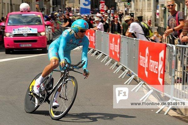 2014 Tour de France stage 20  time trials going into Perigueux  Dordogne Department  Aquitaine  France.