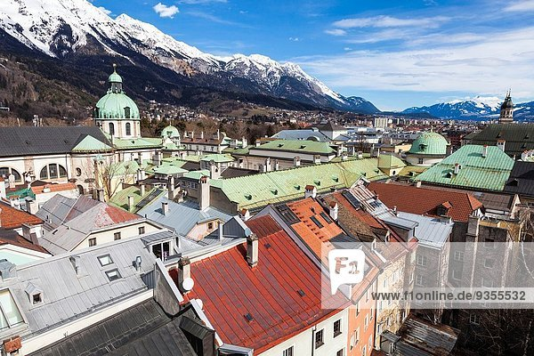 Innsbruck  view over city with cathedral of St. Jacob  Tyrol  Austria.