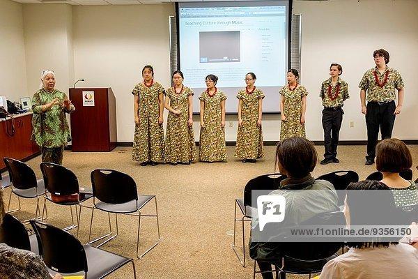 Hawaii  Hawaiian  Honolulu  Hawaii State Art Museum  Foundation on Culture and the Arts  ArtLunch  The Hawaii Youth Opera Chorus  E Hele Kakou  student  teen  Asian  girl  teacher  woman  audience.