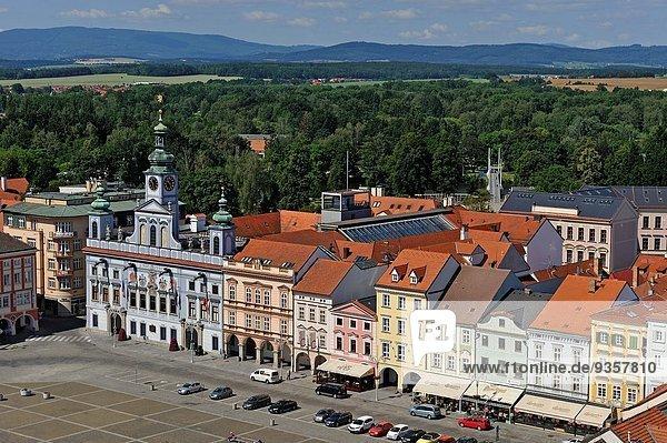 Europa sehen Halle Stadt schwarz hoch oben Quadrat Quadrate quadratisch quadratisches quadratischer Tschechische Republik Tschechien
