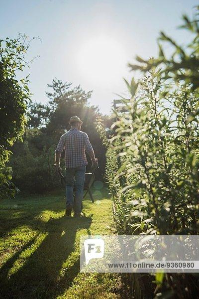 Gärtner mit Schubkarre für Grasschnitt