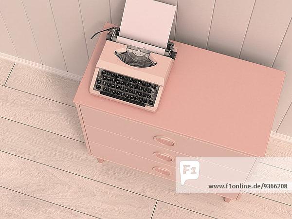 Schreibmaschine auf rosa Kommode  3D Rendering