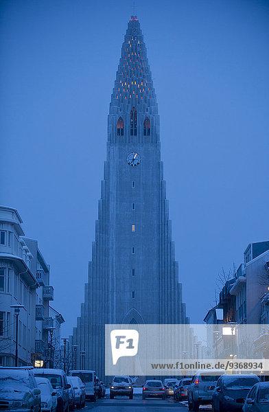 Reykjavik Hauptstadt Straße Großstadt Monument Ignoranz Abenddämmerung Island
