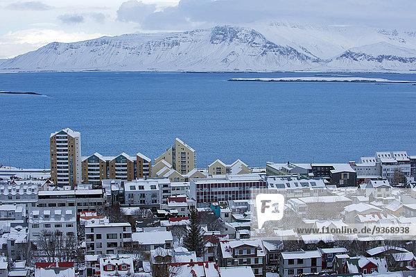 Reykjavik Hauptstadt Landschaft Schnee Großstadt See Arktis Island