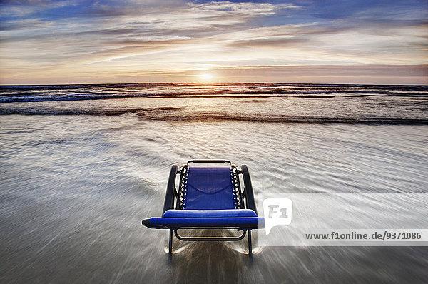 Stuhl Strand Sonnenuntergang Ignoranz Terrasse