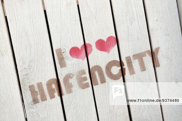 I love Hafencity  Aufdruck auf Holzbrettern I love Hafencity, Aufdruck auf Holzbrettern
