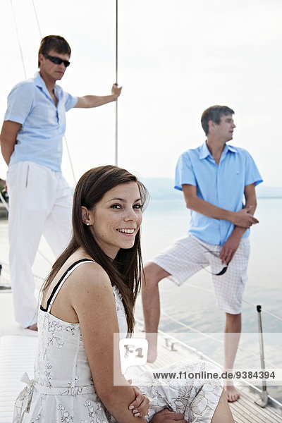 Croatia  Young people on sailboat relaxing