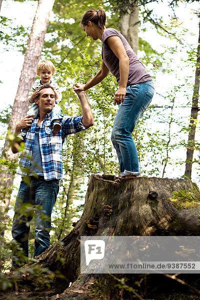 Junge - Person klein Menschliche Eltern Wald