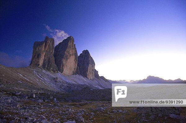Außenaufnahme Landschaftlich schön landschaftlich reizvoll Trentino Südtirol Europa Berg Abend Landschaft niemand Stimmung Natur Dolomiten Zinne Italien
