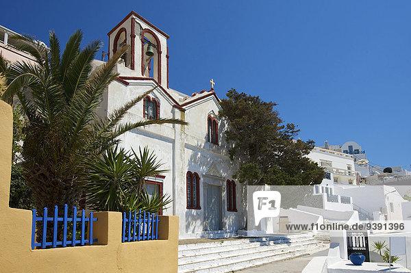 Außenaufnahme bauen Europa Tag Gebäude niemand Architektur Kirche Religion Insel Griechenland Santorin russisch orthodox russisch-orthodox Kapelle Christ Kykladen Fira griechisch Mittelmeer Thira