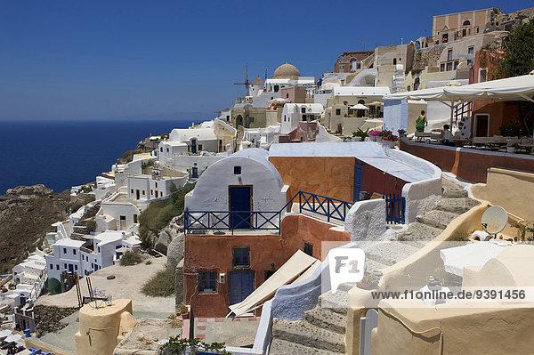 Außenaufnahme Europa Tag Wohnhaus Gebäude niemand Insel Griechenland Santorin Kykladen griechisch Mittelmeer Oia Ia