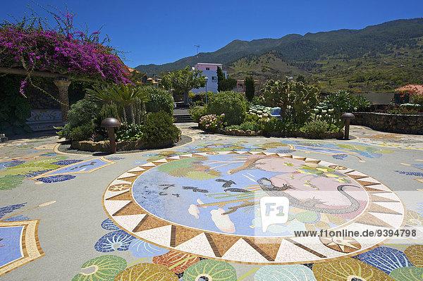 Außenaufnahme Europa Tag niemand Kunst Kanaren Kanarische Inseln Handwerk La Palma Mosaik Spanien