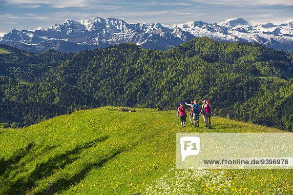 Frau Berg gehen Weg wandern Alpen Wanderweg Kanton Zürich