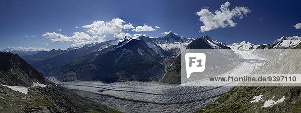 Europa Berg Eis Moräne Schweiz Aletschgletscher