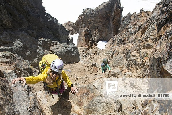 Bergsteiger, Felsbrocken, Frau, 2, Verlust, klettern