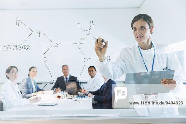 Wissenschaftler zeichnen chemische Formel auf Glas für Geschäftsleute und Kollegen