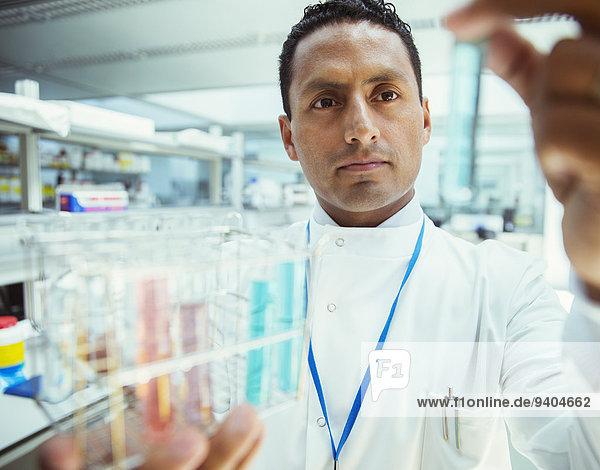 Wissenschaftler bei der Untersuchung von Proben in Reagenzgläsern im Labor