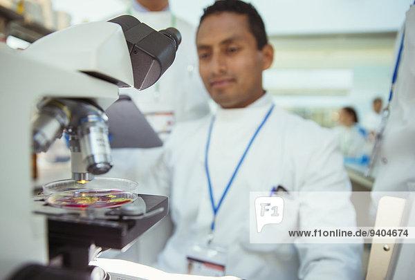 Wissenschaftler mit Probe unter dem Mikroskop im Labor
