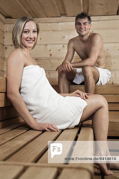 Sauna Mann und Frau