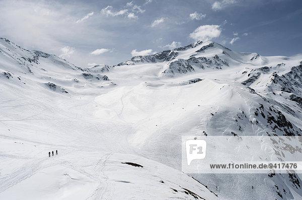 hoch oben Berg Landschaft Alpen Ski Schnee