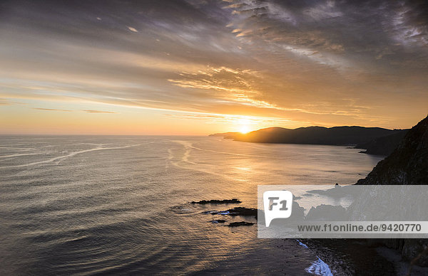 Evening mood at the Pacific coast,  Nugget Point,  Catlins,  South Island,  New Zealand