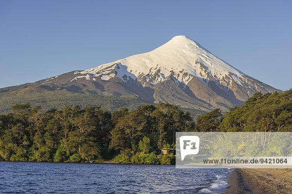 Osorno volcano and the shore of the bay of Lake Llanquihue  Puerto Varas  Los Lagos Region  Chile