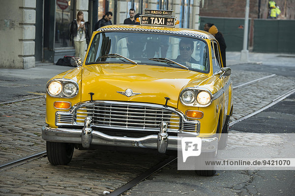 60's Checker Cab taxi  Brooklyn Heights  New York  United States