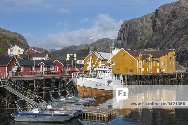 Houses and harbour in the village of Nusfjord on Flakstadøya Island  Lofoten  Nordland  Norway