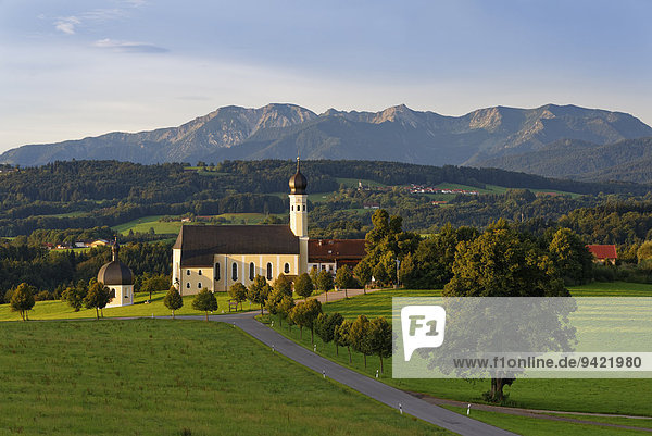 Wallfahrtskirche St. Marinus und Anian in Wilparting  Gemeinde Irschenberg  hinten Mangfallgebirge  Oberland  Oberbayern  Bayern  Deutschland