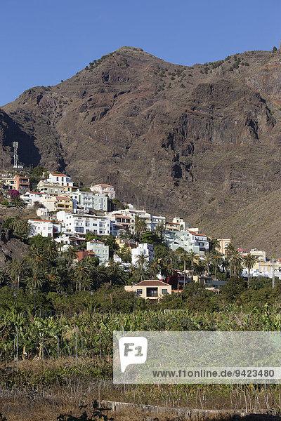 Dorf La Calera am Berghang  La Calera  Valle Gran Rey  La Gomera  Kanarische Inseln  Spanien